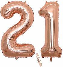 2 Luftballons Zahl 21, Nummer 21 Luftballon