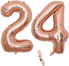 2 Luftballons Zahl 24, Nummer 24 Luftballon