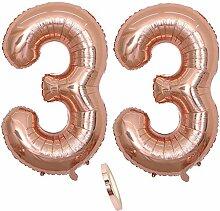 2 Luftballons Zahl 33, Nummer 33 Luftballon