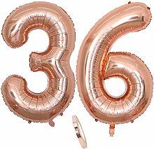 2 Luftballons Zahl 36, Nummer 36 Luftballon