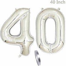 2 Luftballons Zahl 40,Nummer 40 Geburtstags
