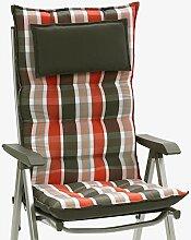 2 Luxus Auflagen für Hochlehner grau orange 9 cm dick mit Kopfkissen Miami 90542-450 (ohne Stuhl)