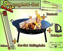2 MASSIV Camping Feuer GRILL Feuerschale aus