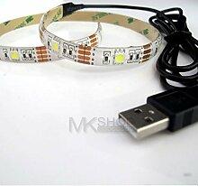 2Meter USB Kalten LED Lichterkette weiß Strip TV 50505V PS4PC Laptop PC Computer Auto Küche weiß