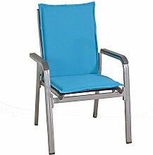 2 Mittellehner Stapelstuhl Auflagen Kuba 50234-140 in blau 107 cm lang