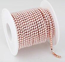 2 mm 3 mm 9,1 m Goldperlen Strass Cup Chain Glas