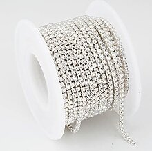 2 mm 3 mm 9,1 Meter Gold Perle Strass Cup Chain