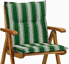 2 Niederlehner Sessel Auflagen Rio 20581-200 in grün-weiß 98 x 49 cm (ohne Stuhl)