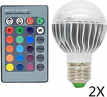 2 Pack 3W Dimmbare E27 LED RGB Farbwechsel Lampen