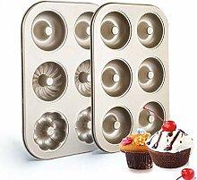 2 Pack Kohlenstoffstahl Donut Formen, 6 Mulden