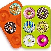 2 Pack Silikon Donut Formen, 6 Hohlraum Antihaft