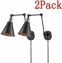 2 Pack Vintage Schwarz Wandlampe mit Schalter