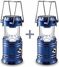 2 Packung Solar Camping Licht , HLZDH verfügbar Wiederaufladbare LED Camping Laterne und Taschenlampe Tragbar für Outdoor, Camping etc, Faltbare, Streckbare Lampe (blau)