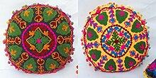 2PC Dekorative 20,3Suzani Runde Kissen Pom Pom Sofa Kissenbezug Home Decor Suzanne Kissen