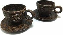 2PC Holz Kaffee Cup Shot handgefertigt Becher