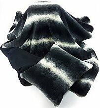 2PCE SET Luxus Schwarz Grau Creme Kunstfell Wildleder Superweicher Bettläufer Überwurf & Kissen gefüll