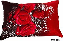 2 pcs/Set 100% Baumwolle schönen 3D-Drucken Kissenbezüge floral red rose weiß Farbe kissenbezug ein Paar
