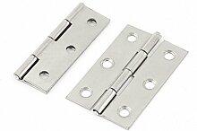 2PCS Silber Tone 5,6cm Länge faltbar Schrank Schrank Tür Scharnier