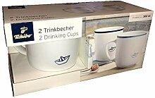 2 Porzellan Tassen Papier Schiff Trinkbecher