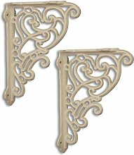 2 Regalstützen Regalhalter Regalträger Regal Halter Eisen 24cm Antik-Stil