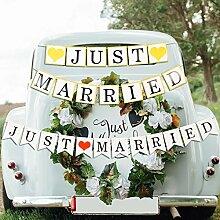 YYUWEI Frisch Verheiratet Girlande Hochzeit Banner Hochzeit Wei/ß Just Married Girlande f/ür Hochzeitszeremonie Fotorequisiten Brautdusche Junggesellinnenabschied