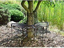 2-Sitzer Baumbank-Halbkreis aus Metall Garten