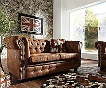 2-Sitzer Couch Chesterfield Braun 160x92 cm Antik Optik Sofa