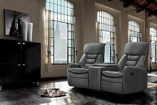 2 Sitzer Kinosessel, Kunstleder grau Cinema - Relax Sofa, Heimkino Sessel, TV Sofa, Relaxcouch, Home Cinema, verstellbar, Liegefunktion