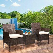 2-Sitzer Lounge-Set Inver aus Rattan mit Polster