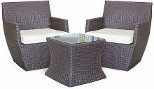2-Sitzer Lounge-Set Layoune aus Rattan mit Polster
