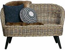 2 Sitzer Rattan Sofa SARA 127 cm Gartensofa Lounge