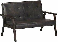 2-Sitzer-Sofa Grau Echtleder 13502 - Topdeal