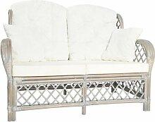 2-Sitzer-Sofa Grau Rattan