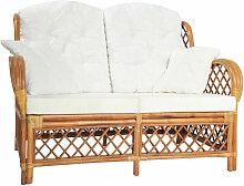 2-Sitzer-Sofa Hellbraun Rattan