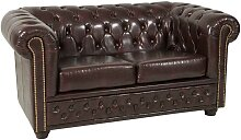2 Sitzer Sofa in Braun Chesterfield Art