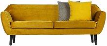 2 Sitzer Sofa in Gelb Retro Design
