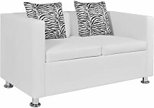 2-Sitzer-Sofa Kunstleder Weiß - Youthup