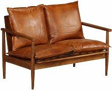 2-Sitzer-Sofa Leder mit Akazienholz Braun 12413 -