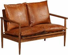 2-Sitzer-Sofa Leder mit Akazienholz Braun