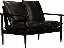 2-Sitzer-Sofa Leder mit Akazienholz Schwarz