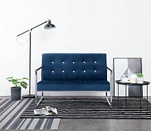 2-Sitzer-Sofa mit Armlehnen Blau Chrom und Samt