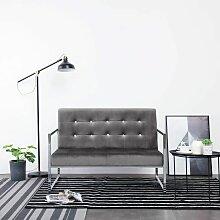 2-Sitzer-Sofa mit Armlehnen Dunkelgrau Chrom und