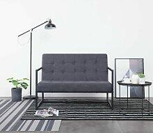 2-Sitzer-Sofa mit Armlehnen Dunkelgrau Stahl und