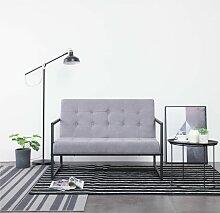 2-Sitzer-Sofa mit Armlehnen Hellgrau Stahl und