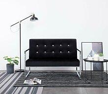 2-Sitzer-Sofa mit Armlehnen Schwarz Chrom und Samt