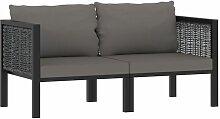 2-Sitzer-Sofa mit Auflage Anthrazit Poly Rattan -