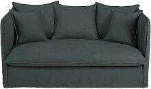 2-Sitzer-Sofa mit Bezug aus anthrazitfarbenem