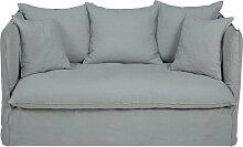 2-Sitzer-Sofa mit Bezug aus hellgrauem Leinen
