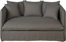 2-Sitzer-Sofa mit dickem, grauem Leinenbezug im