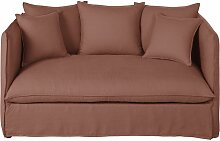 2-Sitzer-Sofa mit dickem, rhabarberrotem